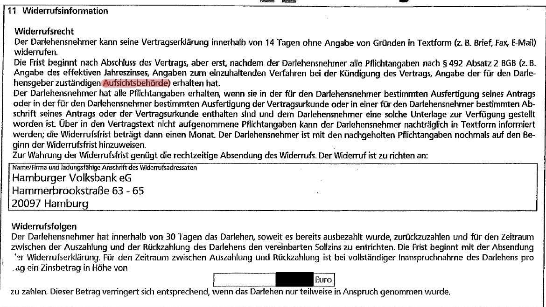 Kreditwiderruf Mit Aufsichtsbehörde Verbraucherzentrale Hamburg