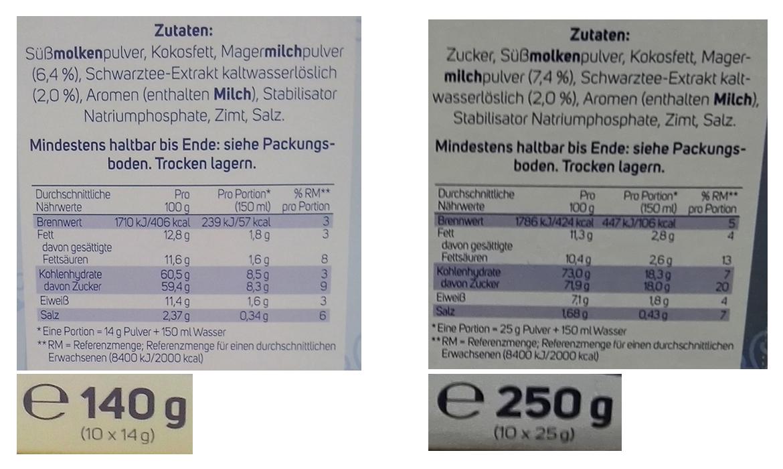 Krüger Chai Latte: »Weniger süß«, weniger drin, weniger Chai Latte ...
