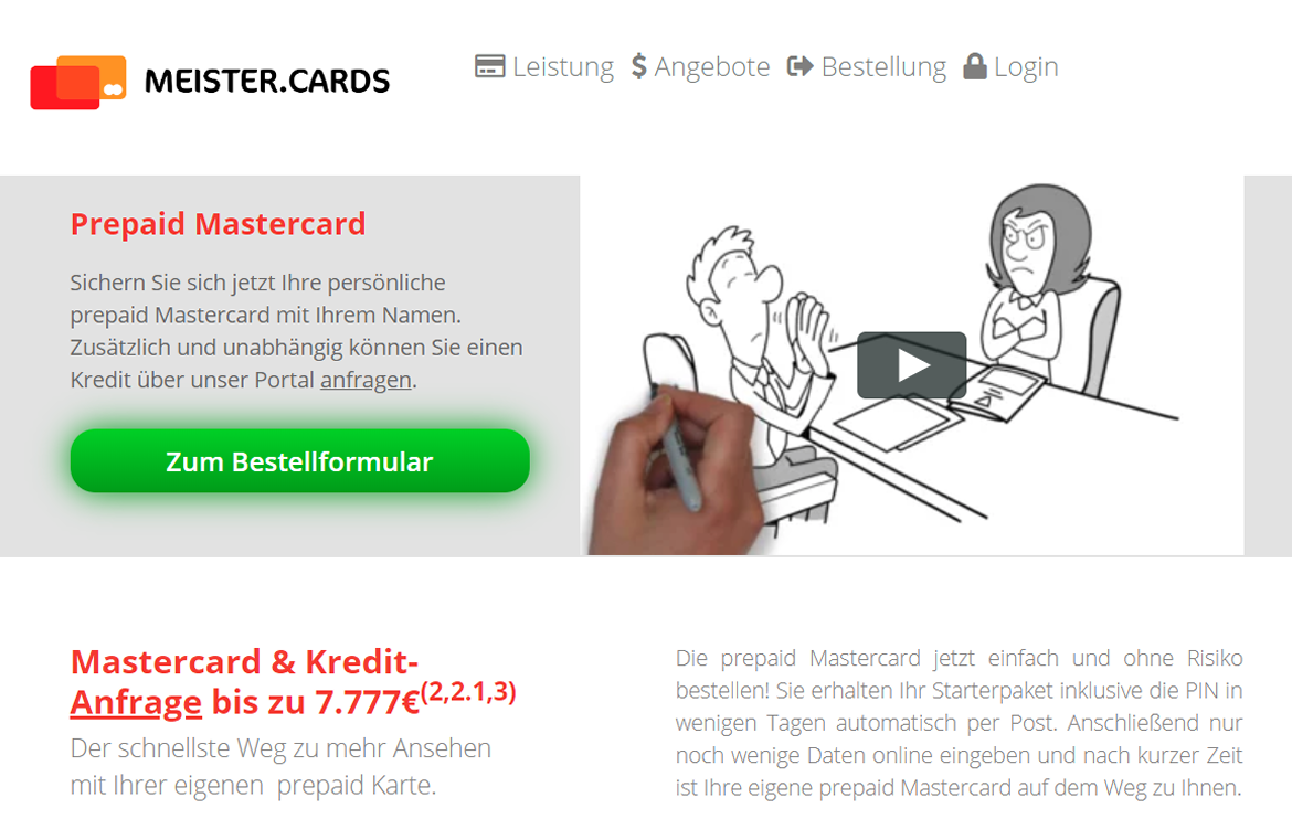 Screenshot des Kreditportals meister.cards