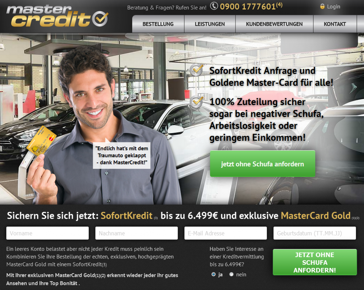 Screenshot der Website mastercredit.de